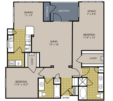 1,273 sq. ft. B7 floor plan