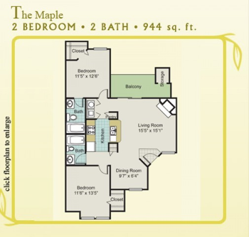 944 sq. ft. Maple floor plan