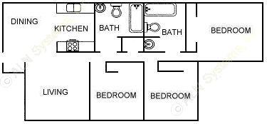 1,000 sq. ft. 60% floor plan