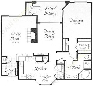 996 sq. ft. A2 floor plan