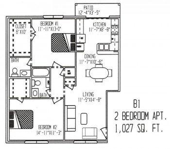 1,027 sq. ft. floor plan
