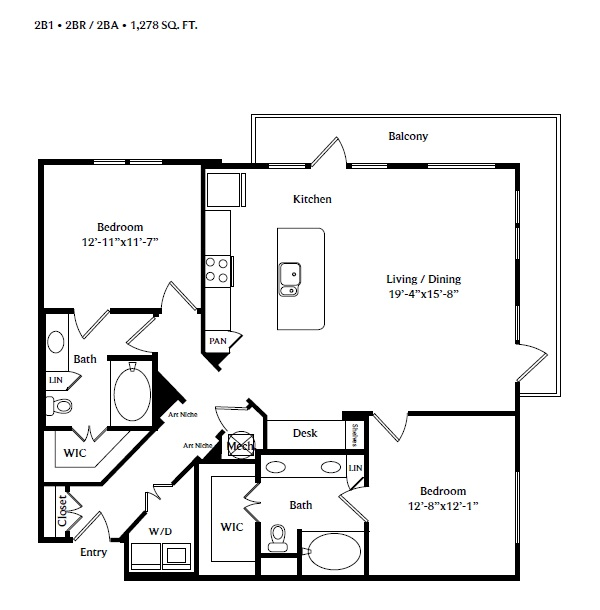 1,278 sq. ft. 2B1 floor plan