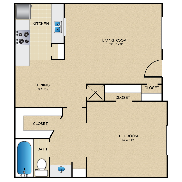 715 sq. ft. B floor plan