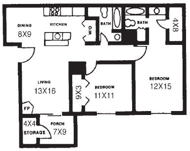 977 sq. ft. C floor plan