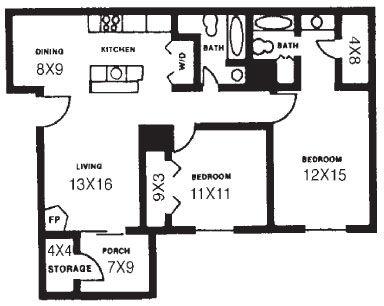 977 sq. ft. C floor plan