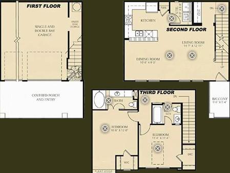 1,232 sq. ft. to 1,264 sq. ft. B3 - Matisse floor plan