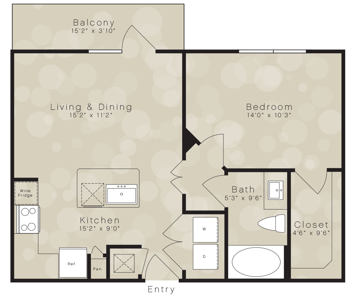 630 sq. ft. A8 floor plan