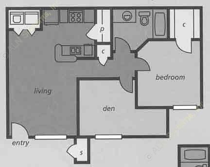 710 sq. ft. B1 floor plan