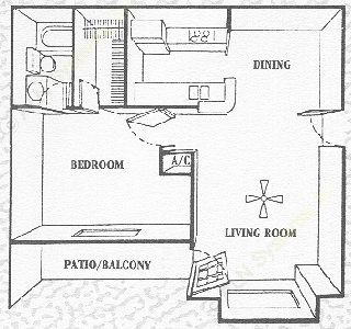 600 sq. ft. Lakeview floor plan