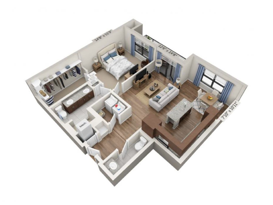 959 sq. ft. Encore floor plan