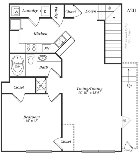 997 sq. ft. A2U floor plan