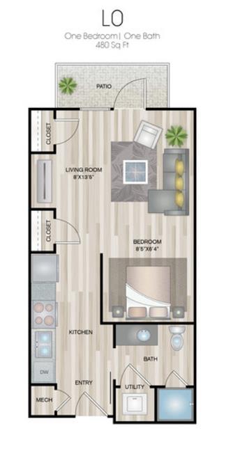 480 sq. ft. L0 floor plan
