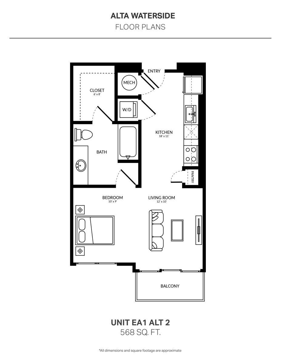 568 sq. ft. EA1 Alt 2 floor plan