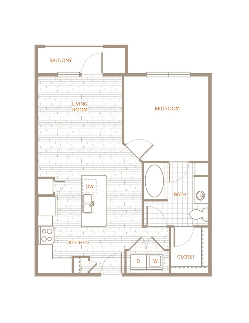 717 sq. ft. A3 floor plan
