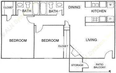 943 sq. ft. D floor plan