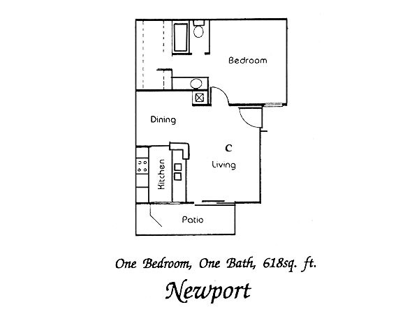618 sq. ft. Newport floor plan
