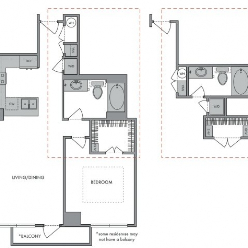 729 sq. ft. C floor plan