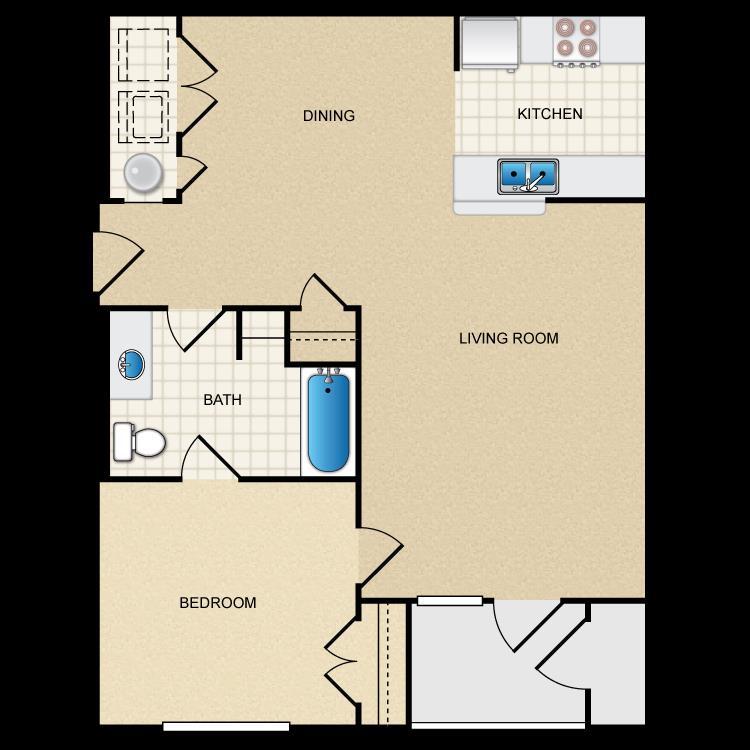 839 sq. ft. 60% floor plan