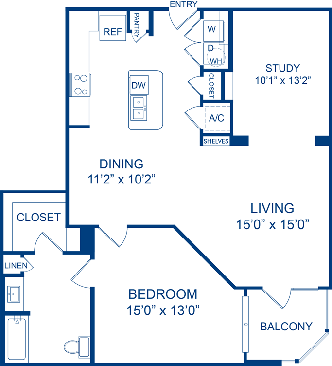 1,141 sq. ft. Lemonmint floor plan