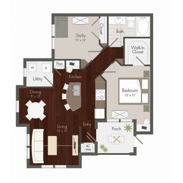 1,008 sq. ft. Peek floor plan