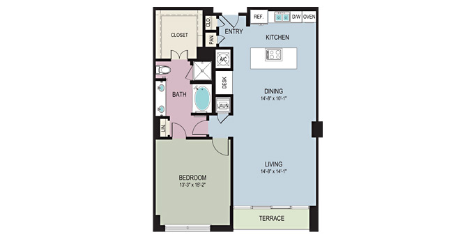 1,137 sq. ft. A4 floor plan