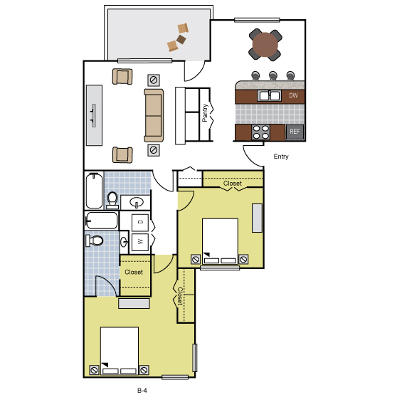 1,188 sq. ft. B4 floor plan