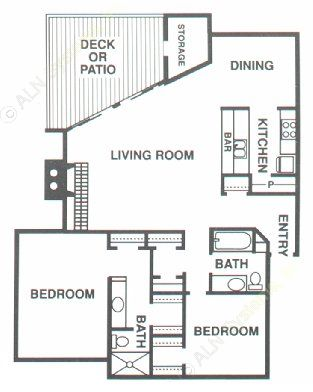 1,226 sq. ft. B2 floor plan