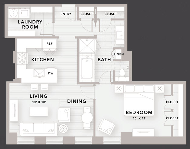 895 sq. ft. A6 floor plan