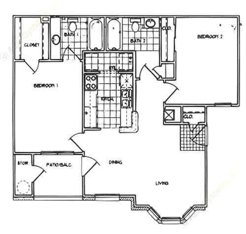 900 sq. ft. B/60% floor plan