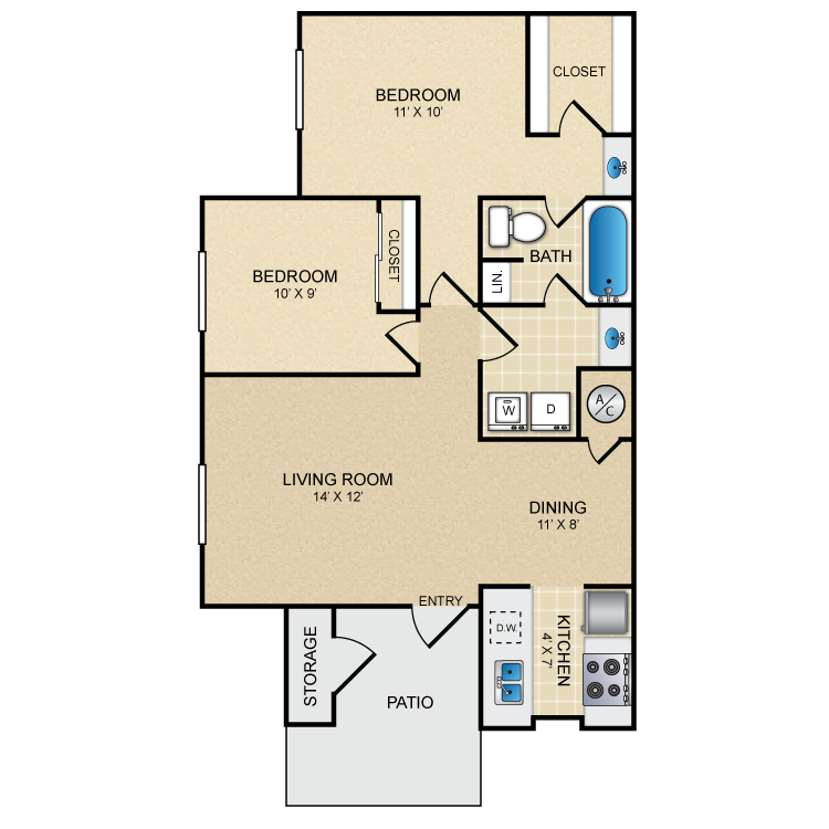 800 sq. ft. La Luna floor plan