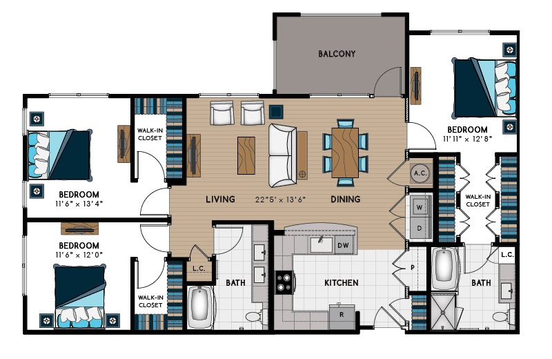 1,544 sq. ft. 3B floor plan