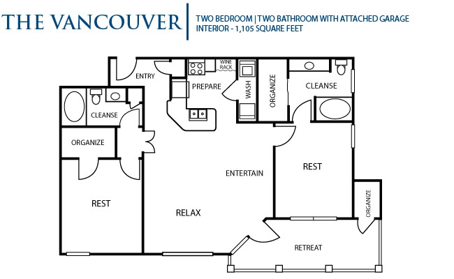 1,105 sq. ft. Vancouver floor plan