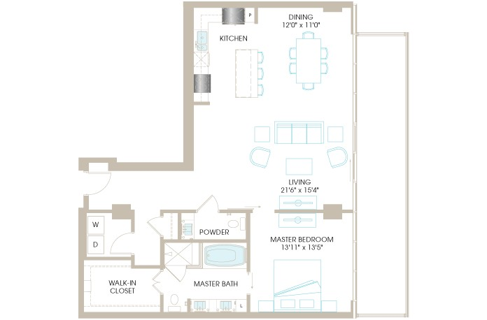 1,240 sq. ft. A8P floor plan