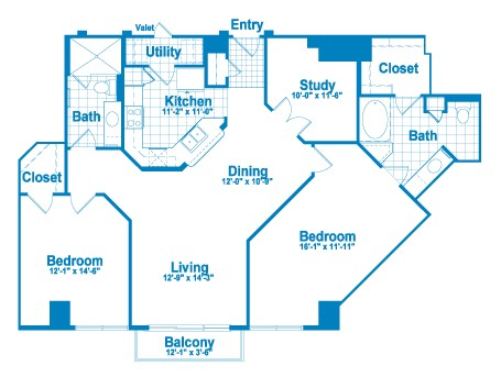 1,422 sq. ft. BT2.1 floor plan