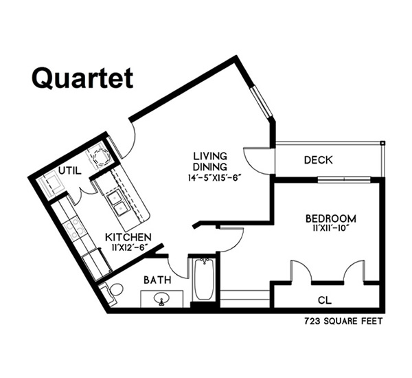 723 sq. ft. Quartet floor plan