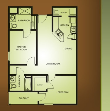 930 sq. ft. B2-MAPLE MKT floor plan