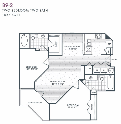 1,057 sq. ft. B9-2 floor plan