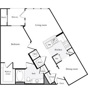 841 sq. ft. A2 floor plan