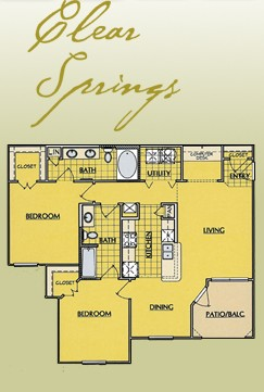 1,153 sq. ft. B3.1 floor plan