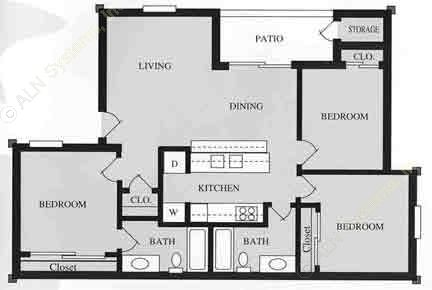 1,108 sq. ft. C1/60% floor plan