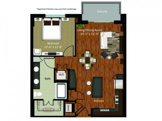 851 sq. ft. A16 floor plan