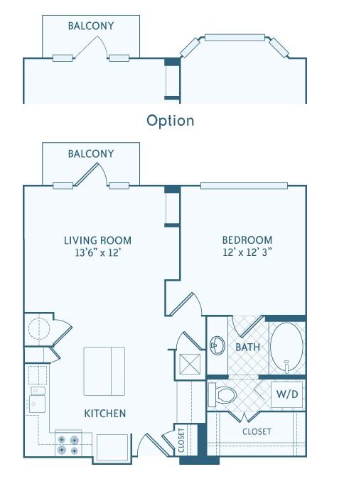 752 sq. ft. 2A1D floor plan