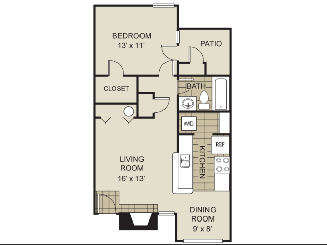 730 sq. ft. A3-B floor plan
