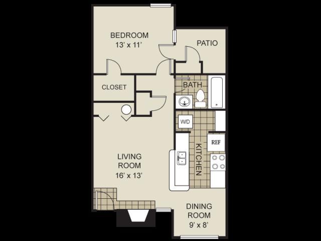 730 sq. ft. A3-B floor plan