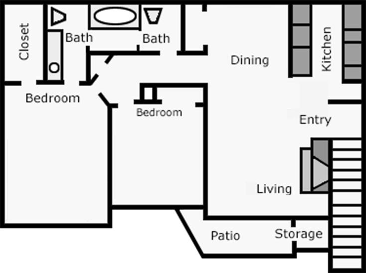 918 sq. ft. Callilily floor plan
