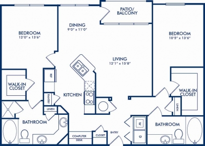 1,296 sq. ft. WAVERLY floor plan