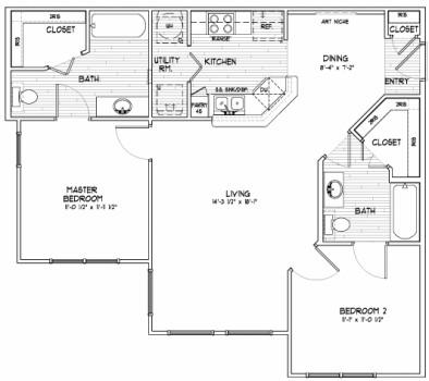 968 sq. ft. E floor plan