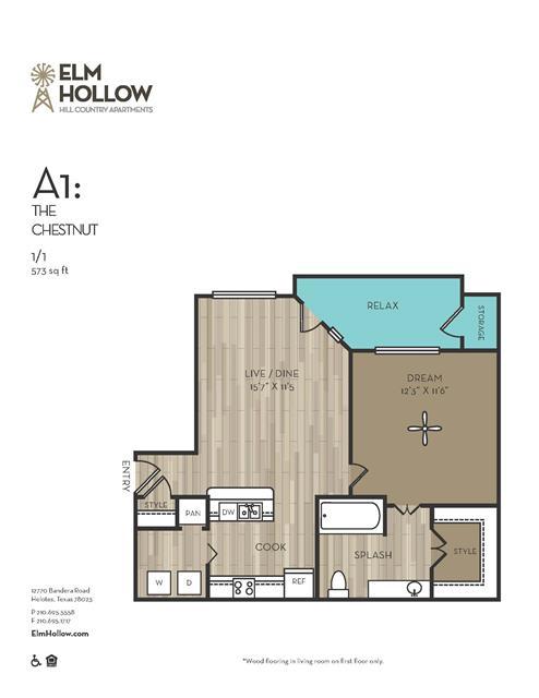 573 sq. ft. CHESTNUT floor plan