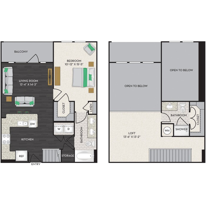 1,145 sq. ft. A5-M floor plan