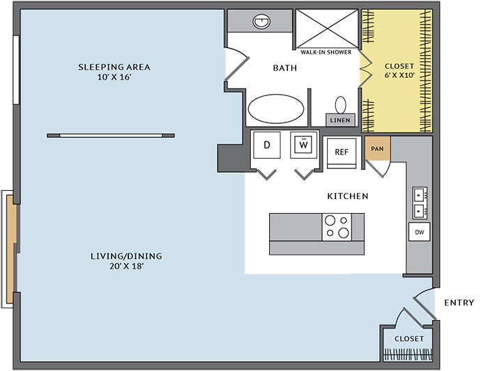 1,053 sq. ft. 11N floor plan
